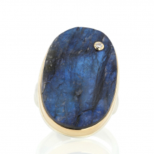 Large Vertical Surface Cut Labradorite Ring with Diamond Image