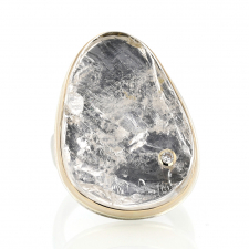 Vertical Surface Cut Rock Crystal Ring Image