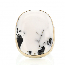 Large White Buffalo Turquoise Silver and Gold Ring Image