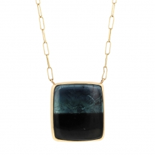 Rectangular Blue Green Tourmaline Pendant Necklace Image
