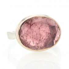 Oval Table Up Light Pink Tourmaline Silver and Gold Ring Image