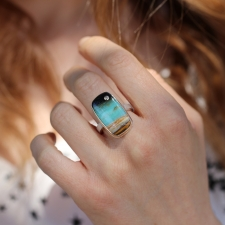 Rectangular Blue Indonesian Opalized Wood Ring Image