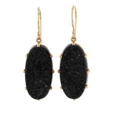 Oval Brazilian Black Drusy Earrings Image
