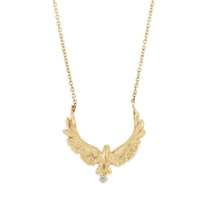 Gold Upward Eagle Necklace Image