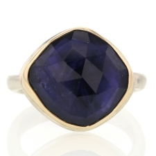 Asymmetrical Iolite Silver and Gold Ring Image