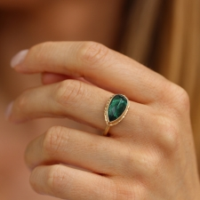 All Gold Teardrop Inverted Green Tourmaline Ring Image