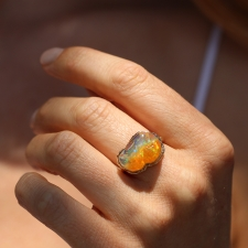 All Gold Mexican Fire Opal Ruffled Platform Ring Image