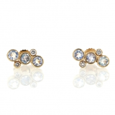 Rainbow Moonstone and Diamond Ear Climber Gold Stud Earrings Image