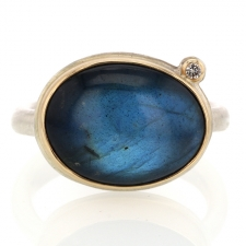 Labradorite Oval Ring with Satellite Diamond
