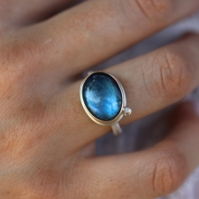 Labradorite Oval Ring with Satellite Diamond Image