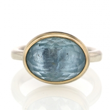 Small Inverted Aquamarine Silver and Gold Ring Image