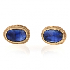 Gold Ruffled Platform Kyanite Stud Earrings Image