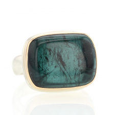 Rectangular Indicolite Tourmaline Silver and Gold Ring Image