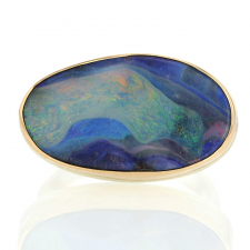 Large Oval Boulder Opal Silver and Gold Ring Image