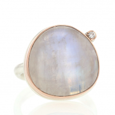 Asymmetrical Rainbow Moonstone Ring with Diamond Image