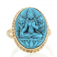 Carved Sleeping Beauty Turquoise Buddha Gold Ring Image