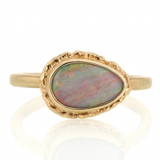 Small Teardrop Australian Opal All Gold Ring Image