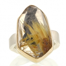 Asymmetrical Golden Rutilated Quartz Silver and Gold Ring Image