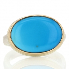 Oval Sleeping Beauty Turquoise Silver and Gold Ring Image