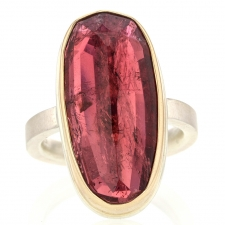 Vertical Pink Tourmaline Silver and Gold Ring Image