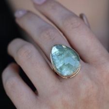 Rose Cut Asymmetrical Green Beryl Ring Image