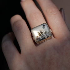 Rectangular Dendritic Agate Ring with Black Diamond Accent Image
