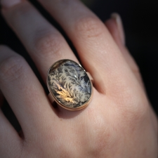 Silver and Gold Vertical Oval Dendritic Agate Ring Image