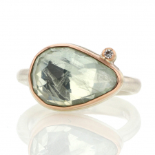 Small Teardrop Green Beryl Ring with Satellite Diamond Image