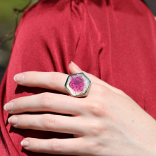 Hexagonal Watermelon Tourmaline Ring Image