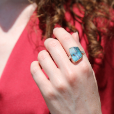 Boulder Opal Silver and Gold Vertical Ring Image