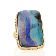 Waterfall All Gold Large Boulder Opal Ring Image