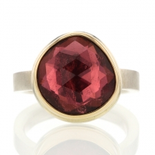 Pink Tourmaline Silver and Gold Faceted Ring Image