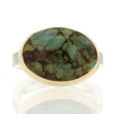 Oval Turquoise Silver and Gold Ring Image