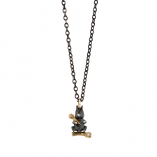 Bunny on Long Oxidized Silver Chain Necklace Image