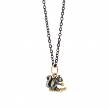Squirrel Long Blackened Silver Necklace Image