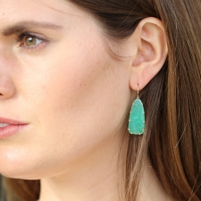 Unique Chrysoprase 14k Gold Earrings Image