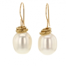 Cultured White Pearl Drop Reeded Ring Earrings Image