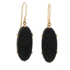 Oval Brazilan Black Drusy Gold Prong Earrings Image