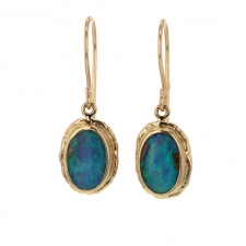 Boulder Opal Gold Oval Earrings Image