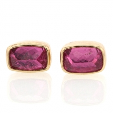 Small Pink Tourmaline Rectangle Stud Earrings Image