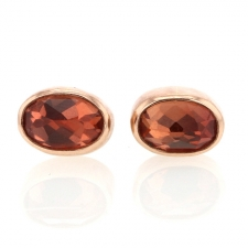 Oval Inverted Sunstone Stud Earrings