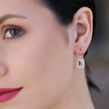 Small Emerald Cut White Topaz Earrings