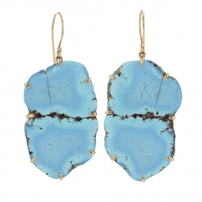 Kazakhstani Turquoise Hanging 14k Gold Earrings Image