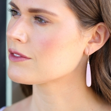 Pink Peruvian Opal Drop Gold Earrings Image