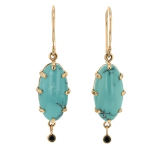 Turquoise Earrings with Black Diamond Dangles Image