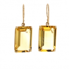 Medium Emerald Cut Citrine Prong Gold Earrings Image