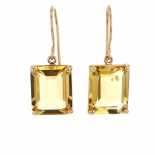 Small Emerald Cut Citrine Prong Gold Earrings Image