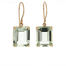 Small Mint Quartz Prong Gold Earrings Image