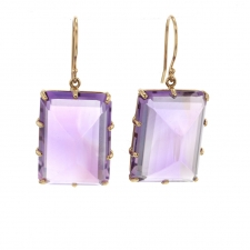 Amethyst Rectangle Inverted Prong Gold Earrings Image