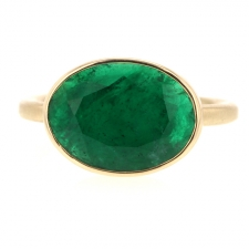 Oval Columbian Emerald All Gold Ring